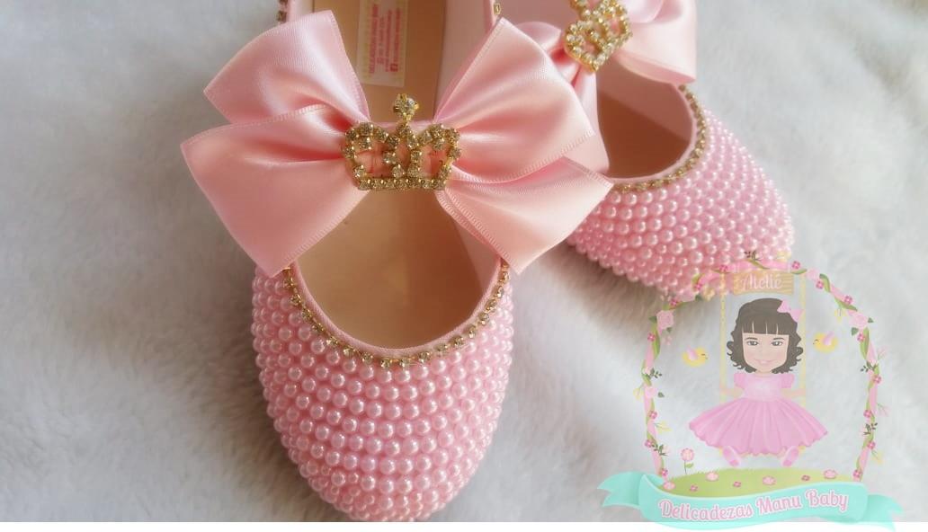 83af85ac01 Sapatilha pérolas rosa princesa no Elo7