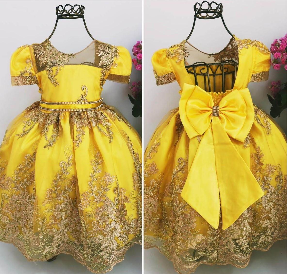 66568a6b81a Vestido Infantil da Bela e Fera Luxo