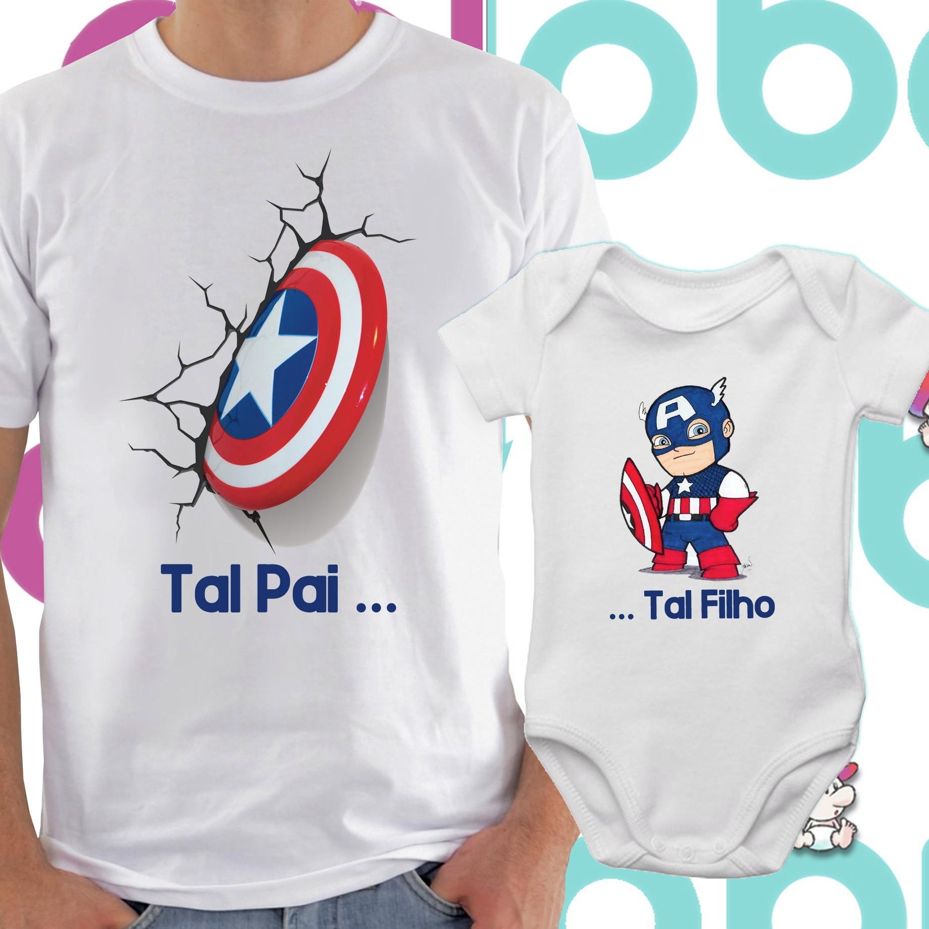 ed98b631b6c483 Body e Camiseta Tal Pai Tal Filho Capitao America