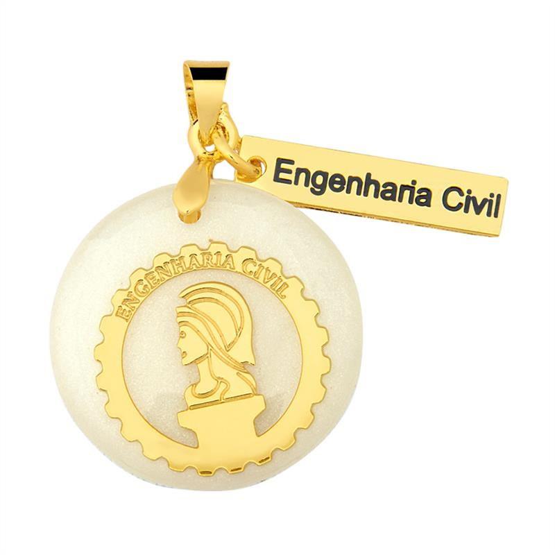 Pingente Engenharia Civil Folheado Ouro com Acrilico   Elo7 d39c9c93bc