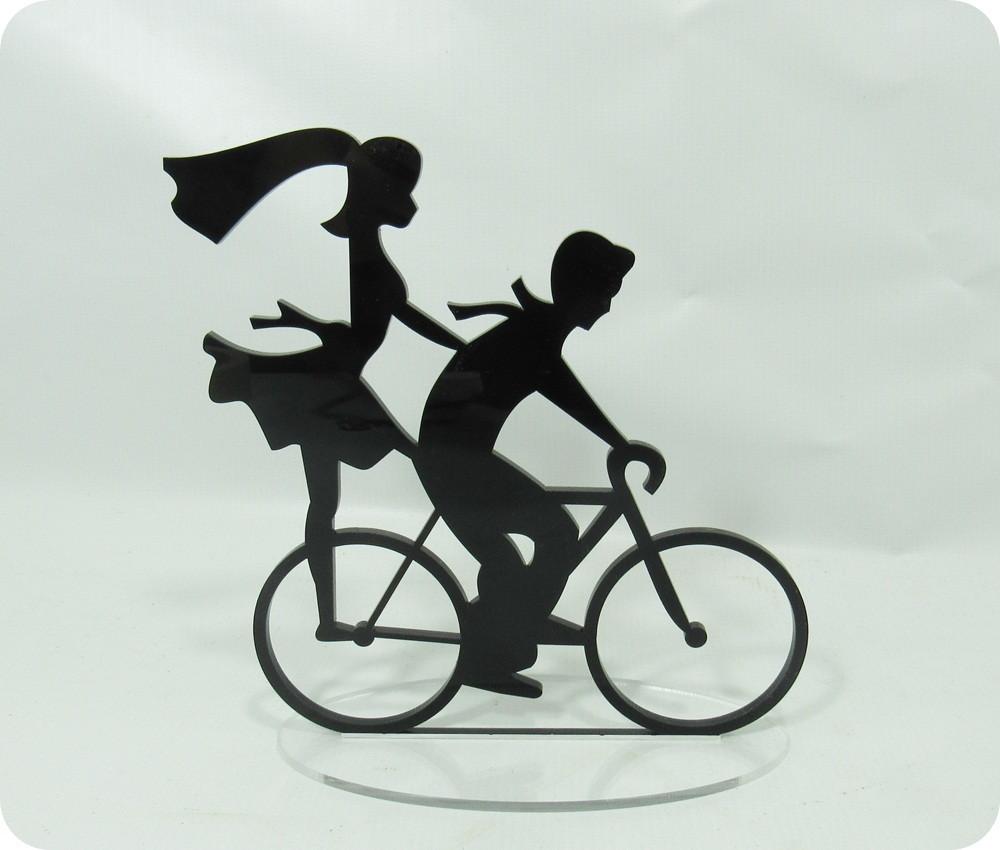 Topo De Bolo Casal Em Acrilico Preto Com Bicicleta No Elo7