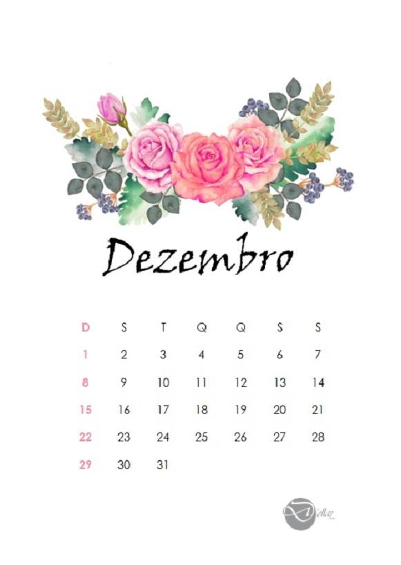 Calendario Dezembro 2019 Bonito.Calendario Flores Mensal Para Baixar 2019