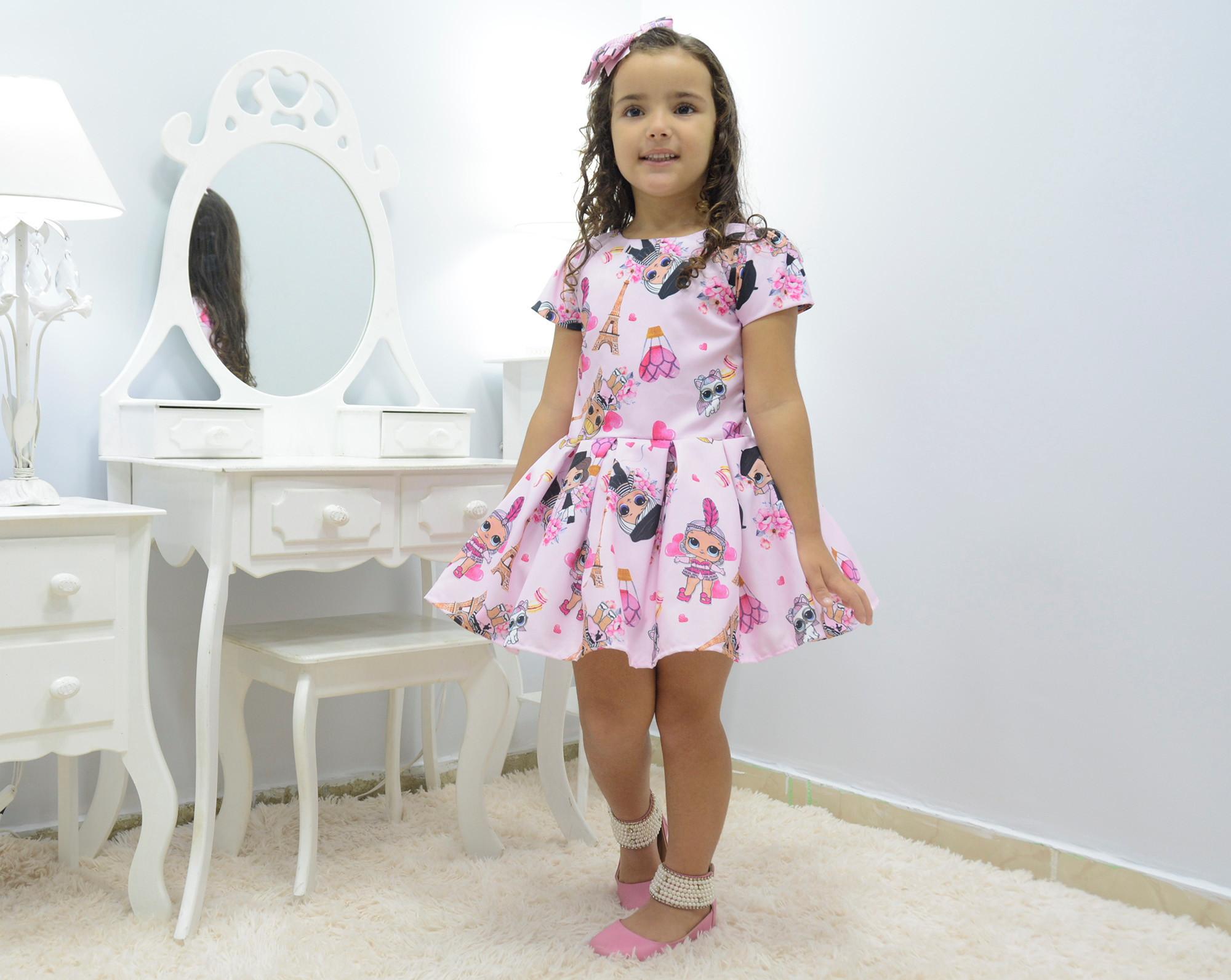 6242b8b0d03 Vestido infantil Lol Paris rosa no Elo7 | Moderna Meninas (E1C8F6)