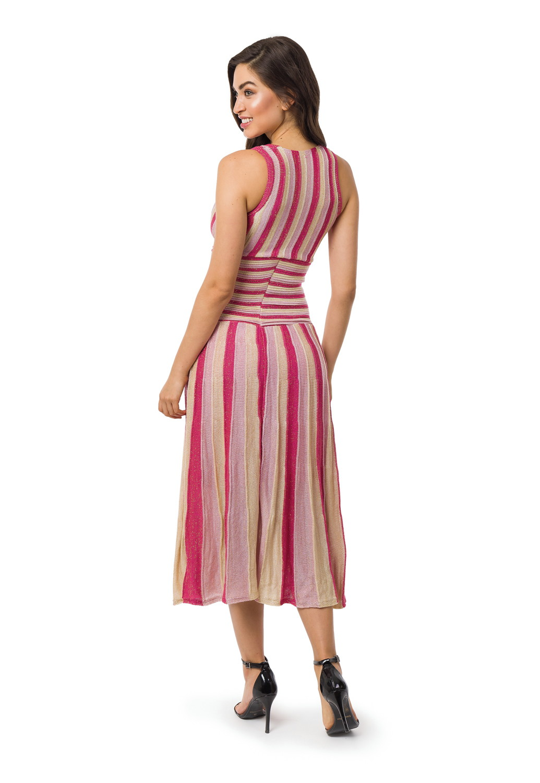 db06861b21 Vestido Longo Feminino Plissado Listrado Tricot Pink 05075 no Elo7 ...