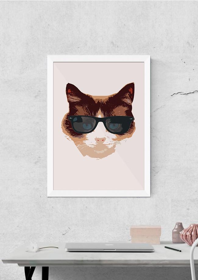 Quadro Gato de Oculos Felino Pet Decoracao Salas Interiores   Elo7 698125e97a