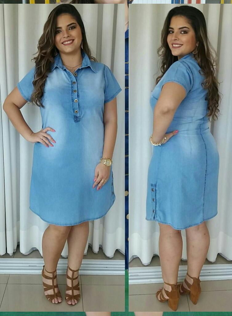 586242bdd9ffeb Roupas Femininas Vestido Jeans Plus Size Vestido Plus Size