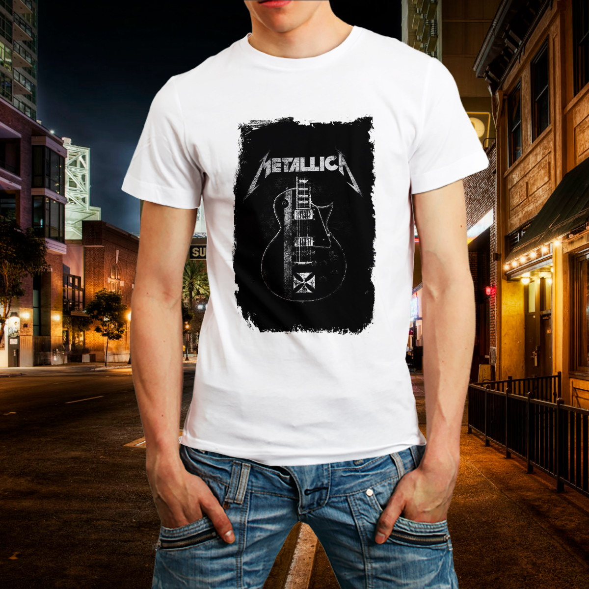 bc1afd82bcc Camiseta de Banda Rock Metallica Camisa Roupa Branca BARATO no Elo7 ...