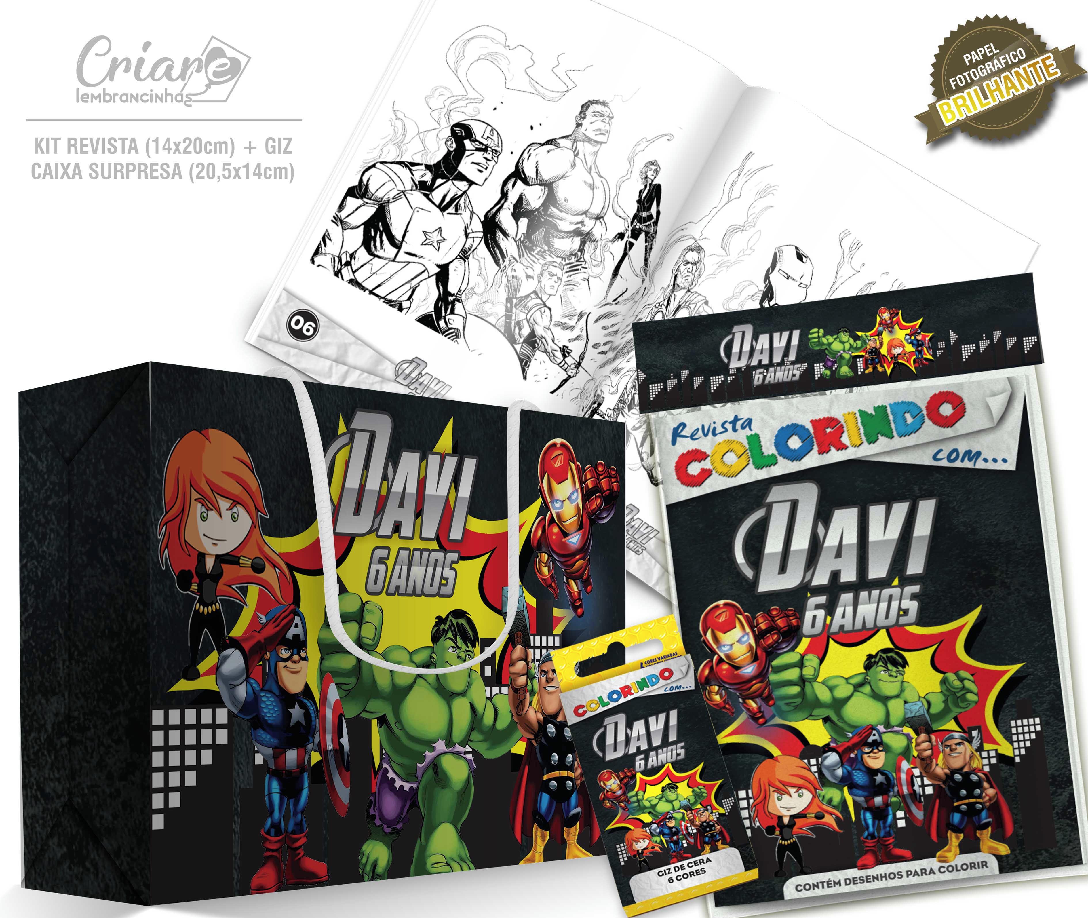 Caixa Surpresa Kit De Colorir Os Vingadores Kids No Elo7