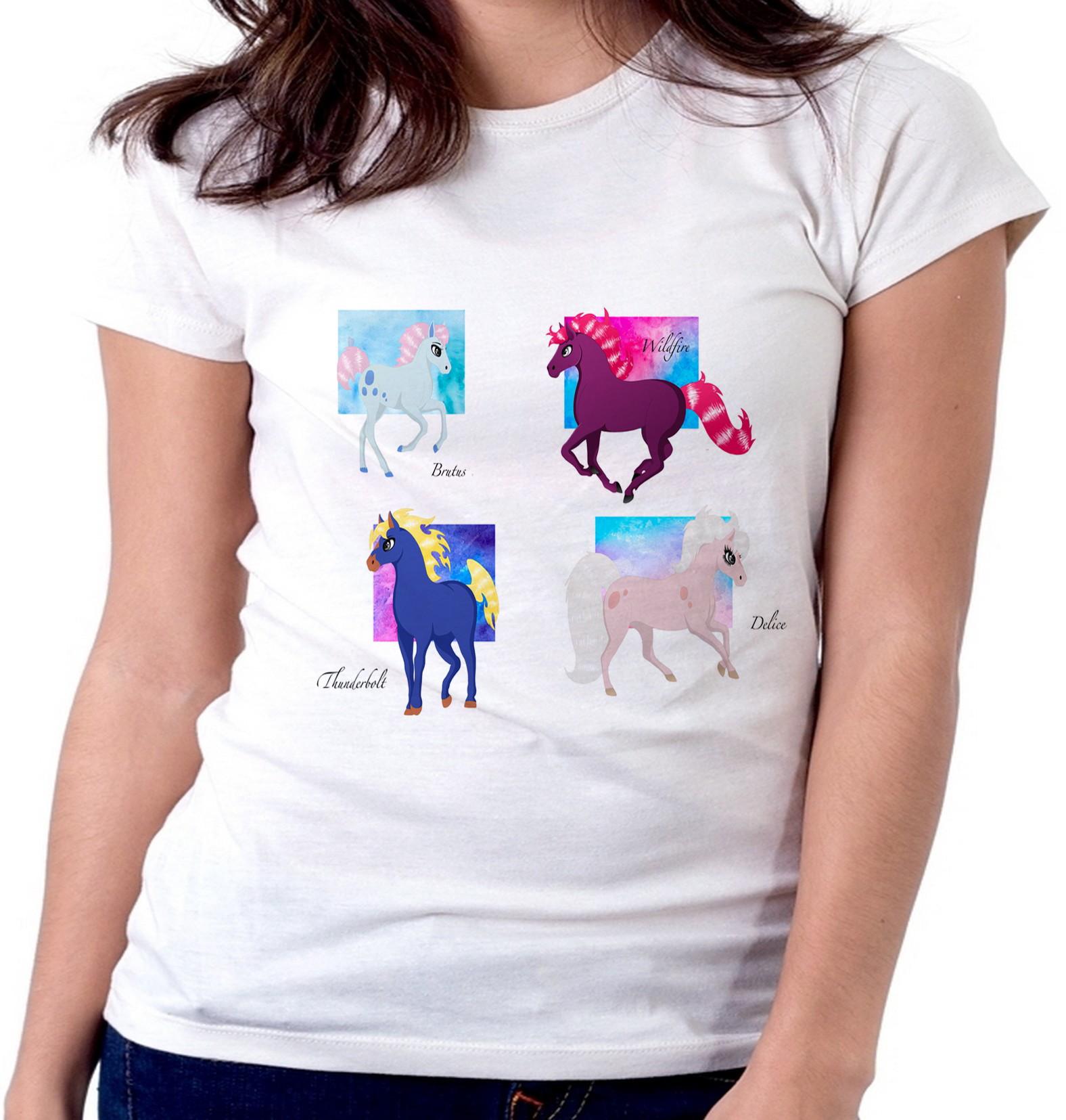 ac6cbbc4de blusa feminina baby look 4 cavalos cavalo de fogo princesa no Elo7 ...
