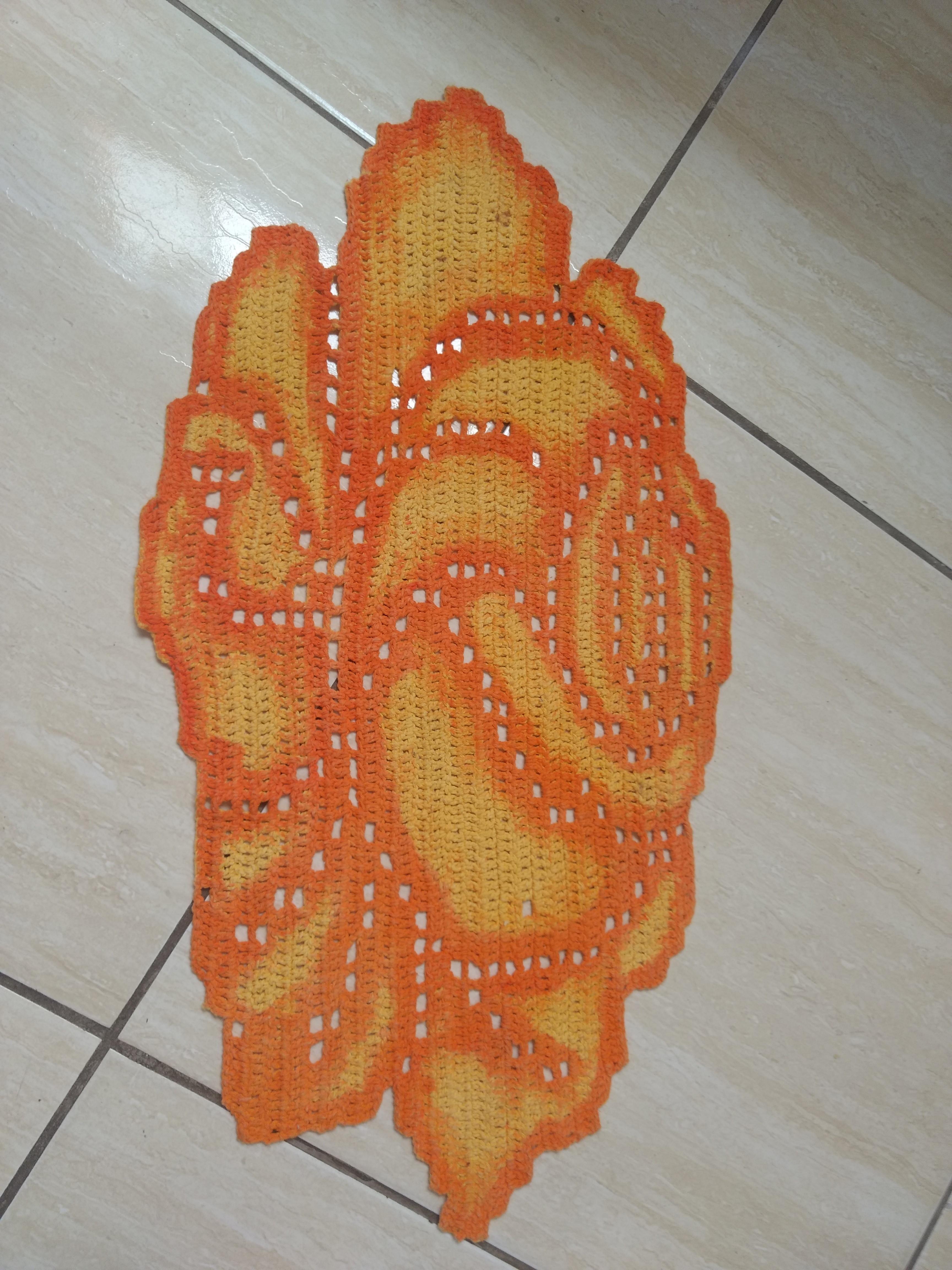 Tapete Em Barbante Desenho Rosa No Elo7 Cris Arte Em Crochet