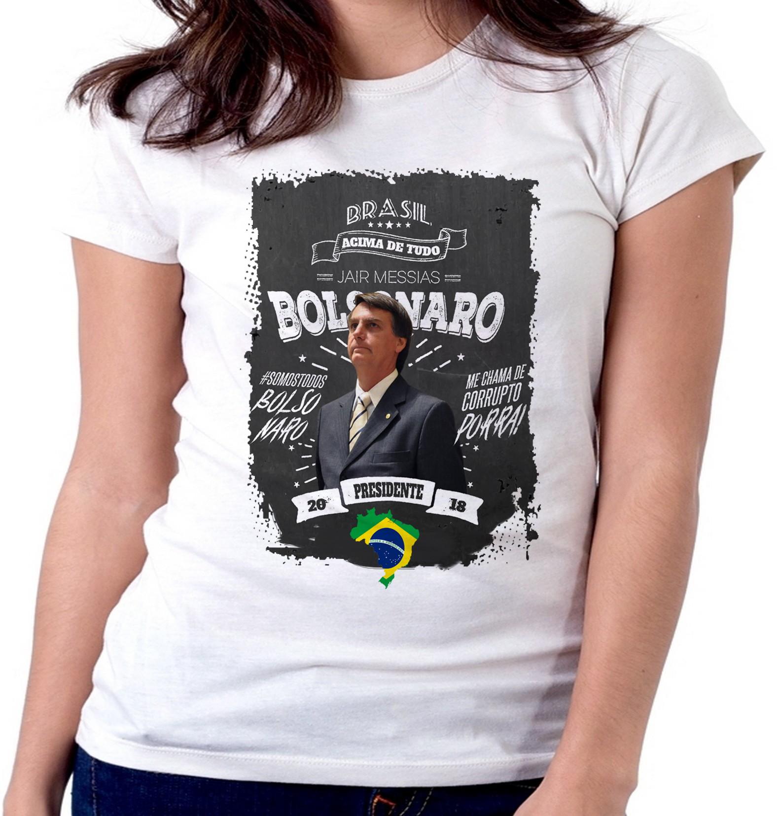 61fb8a580c blusa feminina baby look Bolsonaro mito presidente DEUS acim no Elo7 ...