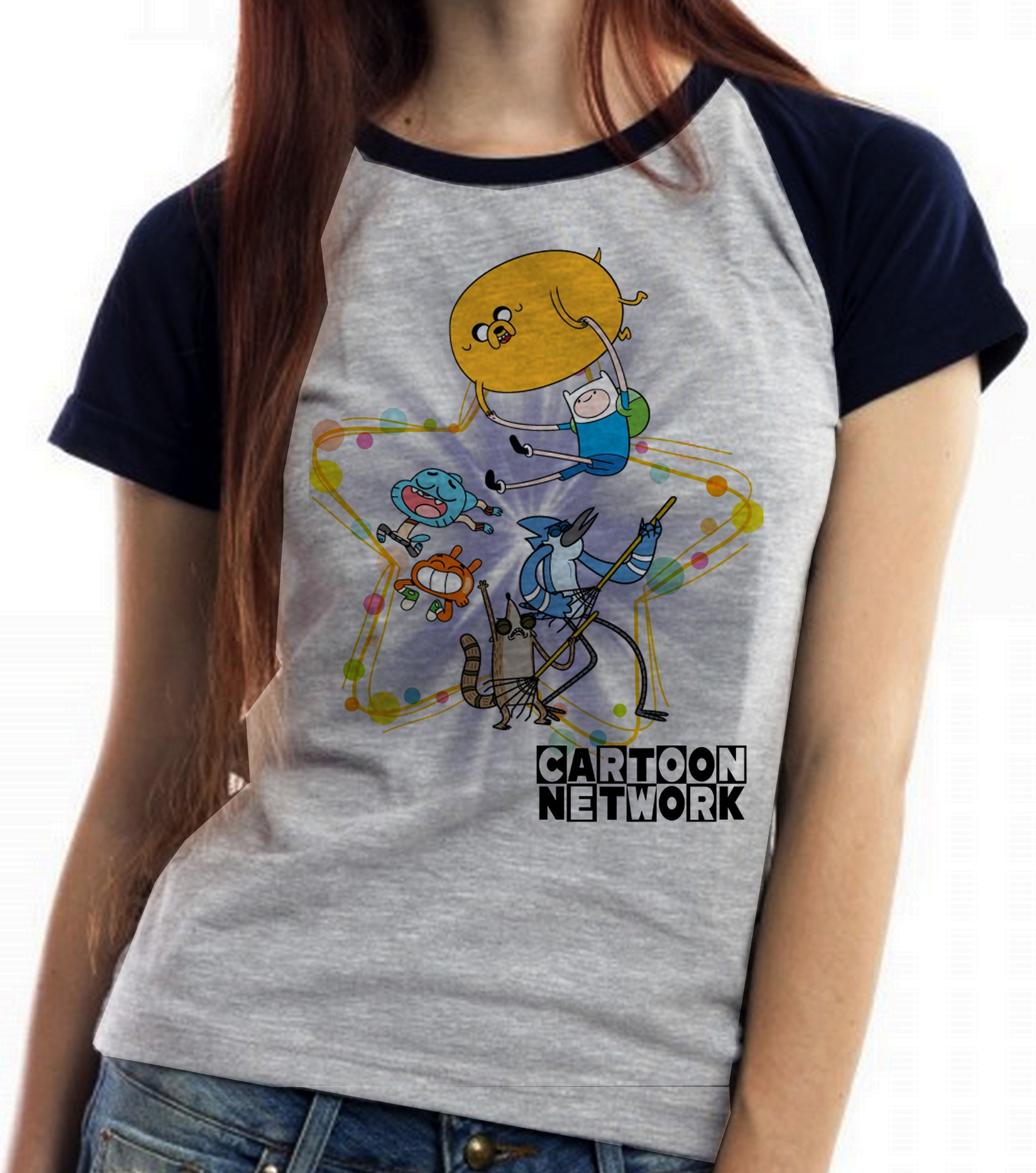 Blusa Feminina Baby Look Cartoon Network Personagens Desenho No
