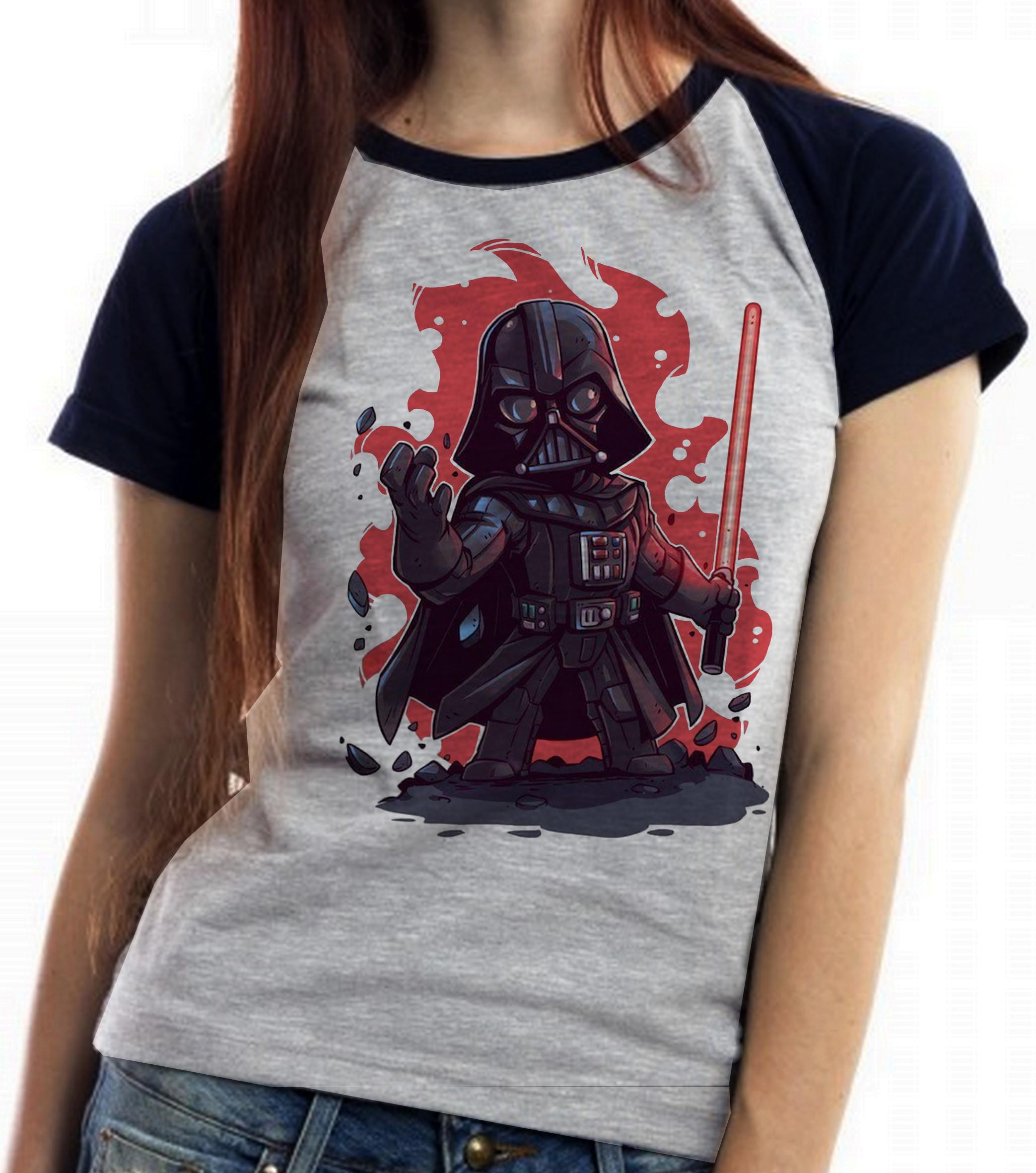 0d484f873 Blusa Feminina Baby Look Camiseta Mini Yoda Star Wars