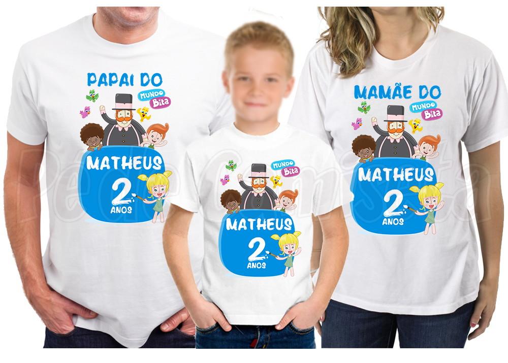 Kit Mundo Bita 3 Camisetas Personalizadas  2110709967d2d