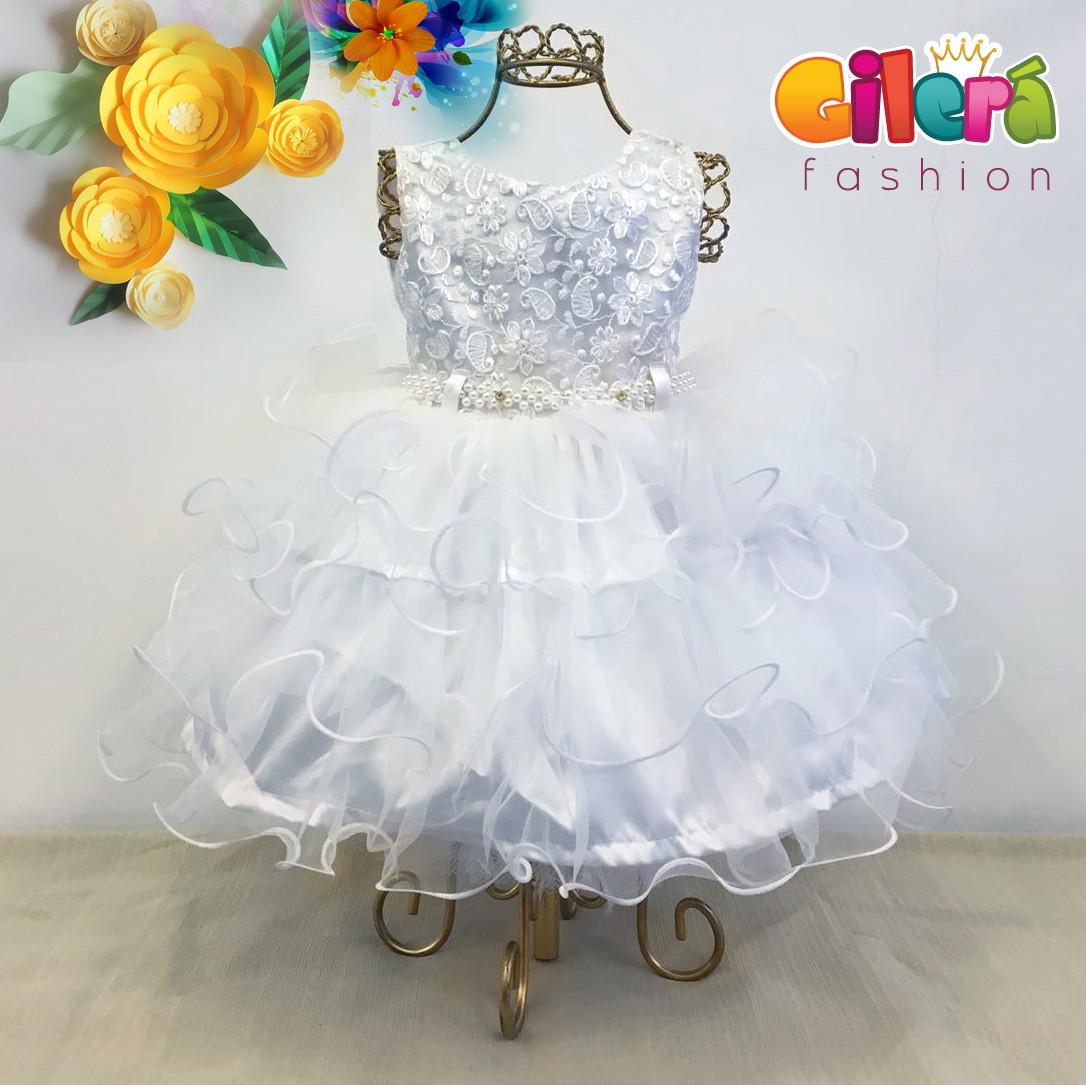 fc2f40ea001 Vestido Infantil Branco Luxo para Festa e Batizado no Elo7