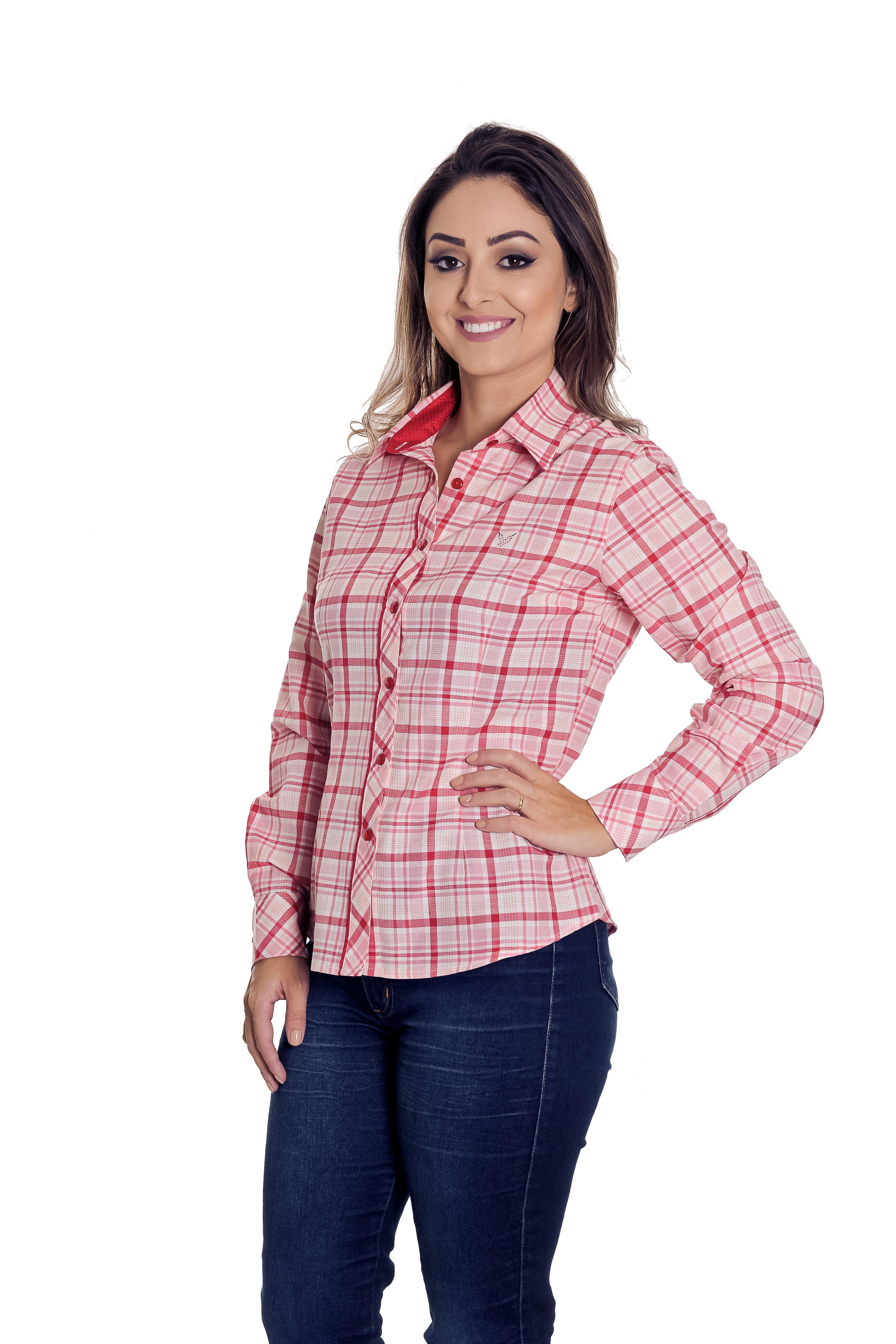 b85cb27ef Camisa Social Xadrez Feminina Beatriz - Pimenta Rosada no Elo7 ...