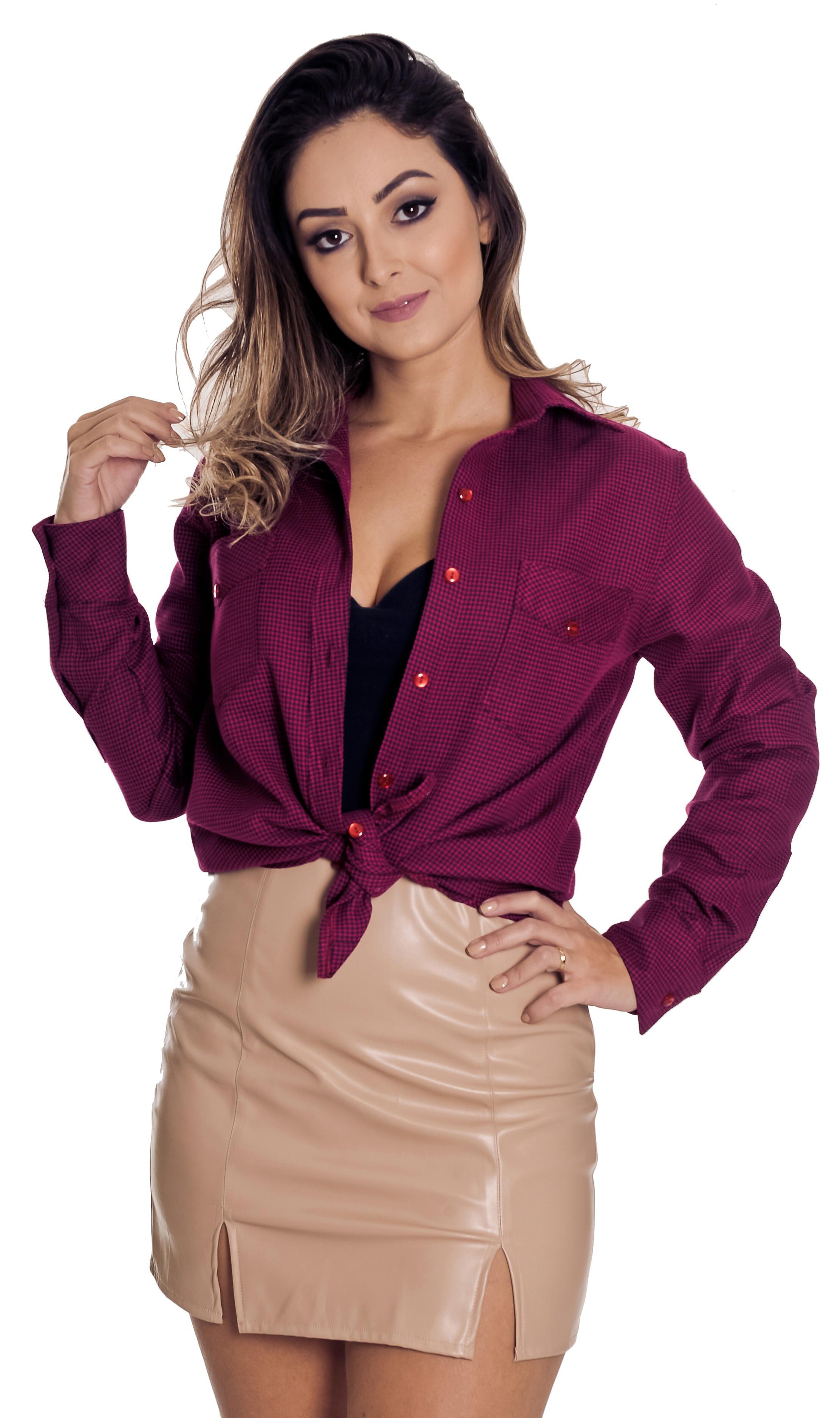 Camisao Xadrez Feminina Antonella Pimenta Rosada  3f9282c7a7194