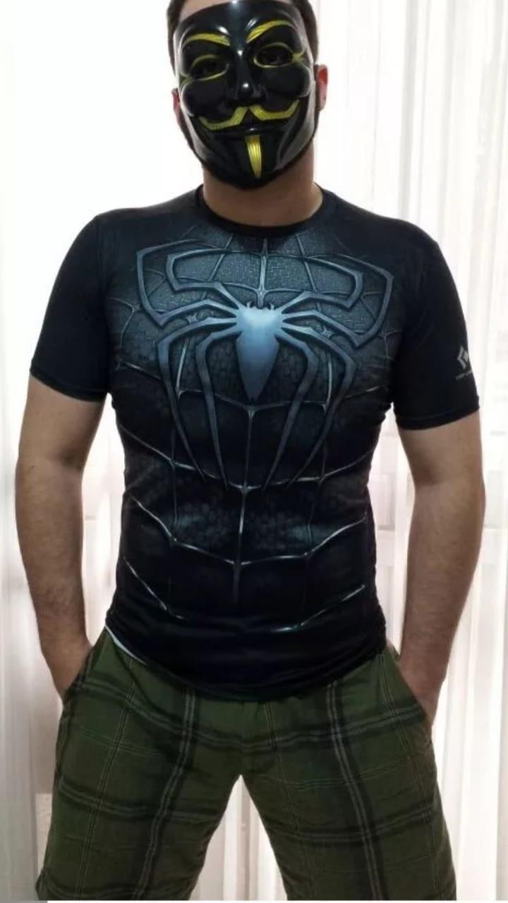 81a9aaac696ca Camisa Compressao Homem Aranha Manga Curta 3d Marvel Venom