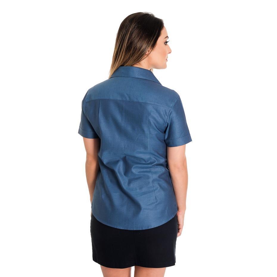 Camisa Feminina Azul Gaya - Pimenta Rosada FIO EGÍPCIO no Elo7 ... 22781d59f681d
