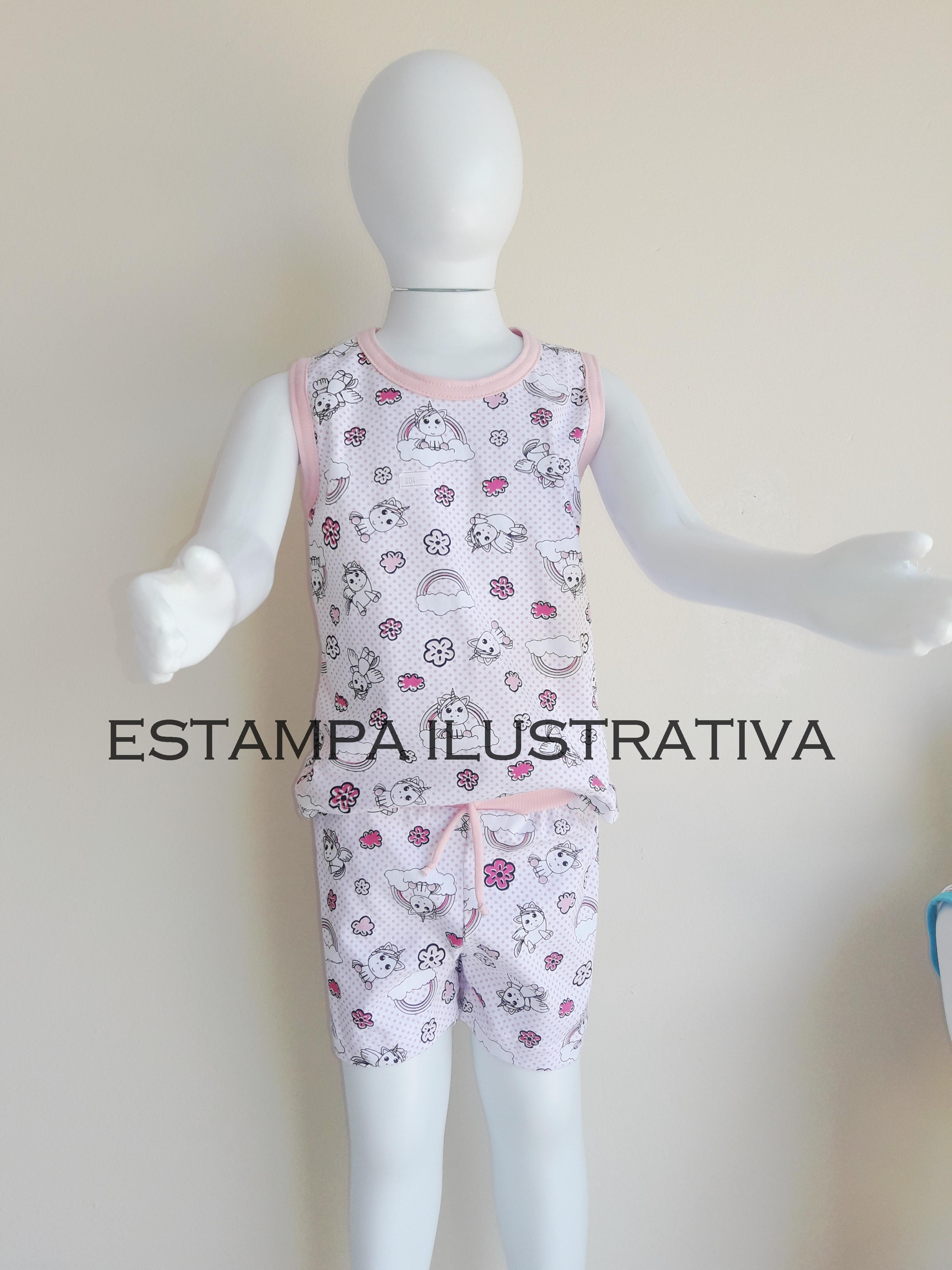 cc1b198a0ab Pijama Infantil Feminino Regata Pv