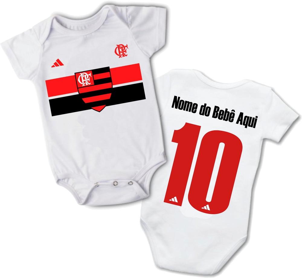 Body Infantil Bebe Personalizado Nome Time Flamengo Promocao  999227db64d21