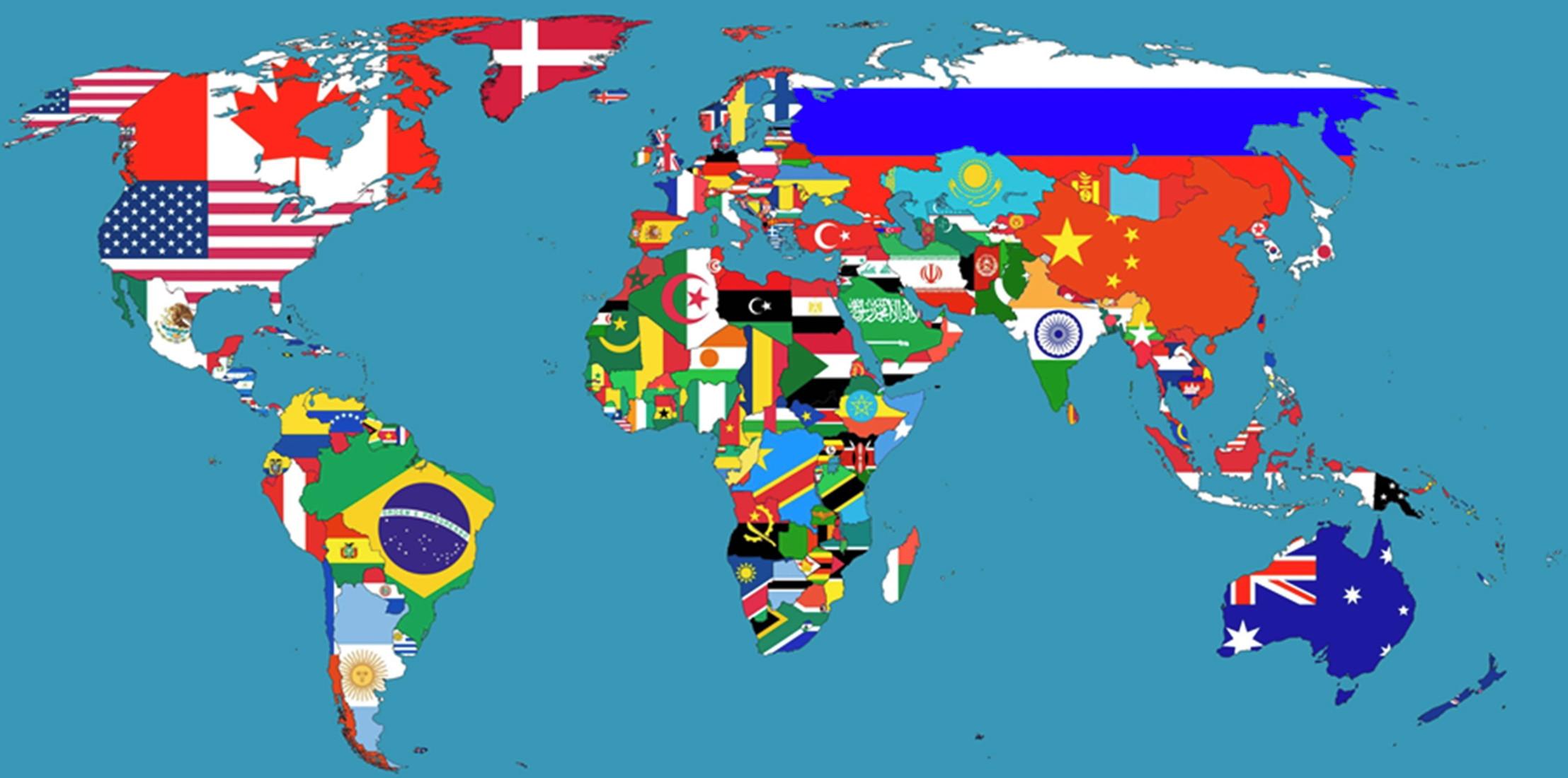 Quadro -Pôster Mapa Múndi Bandeiras*** no Elo7 | ENCANTOS PARA CASA (E5536A)