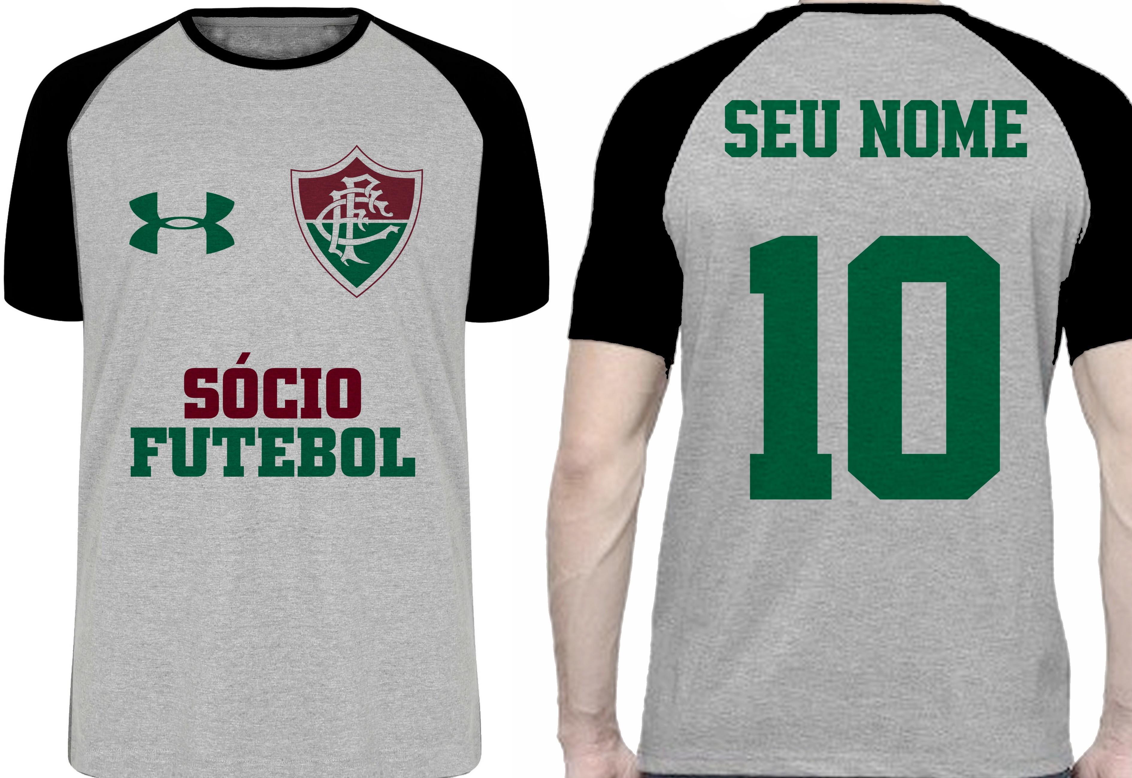 Camiseta Infantil Personalizada com Nome Time Fluminense  b61276bd6c26d