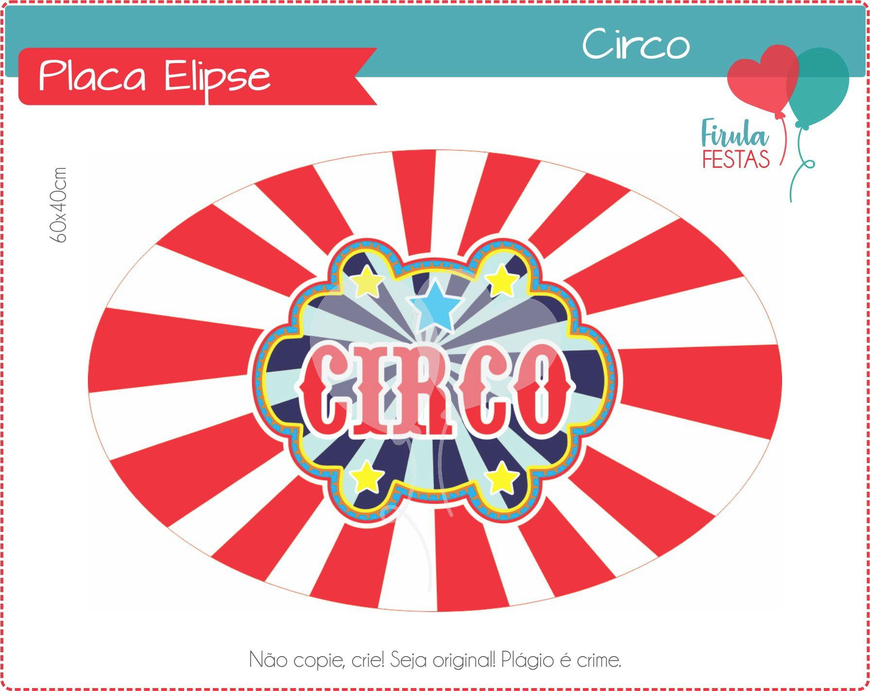 Elipse Placa Circo  f8fec33fcb56a