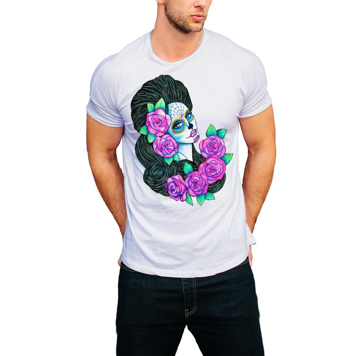 Camiseta Caveira Rosas  771f1a87cd4