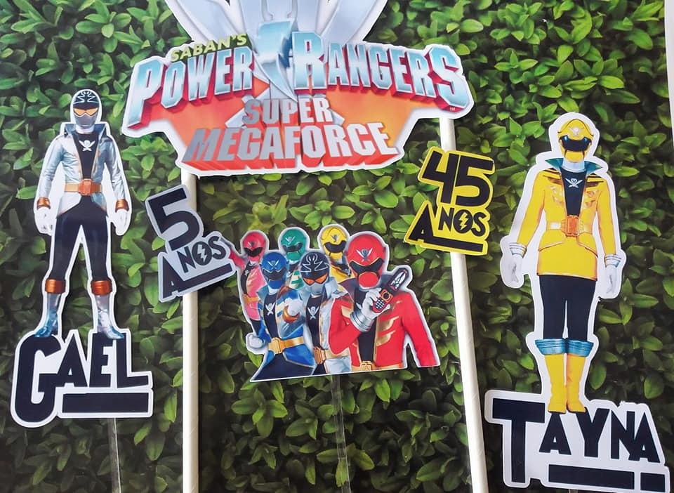 3f791a433ea Topo de Bolo Power Rangers Toppers Power ranger cake toppers