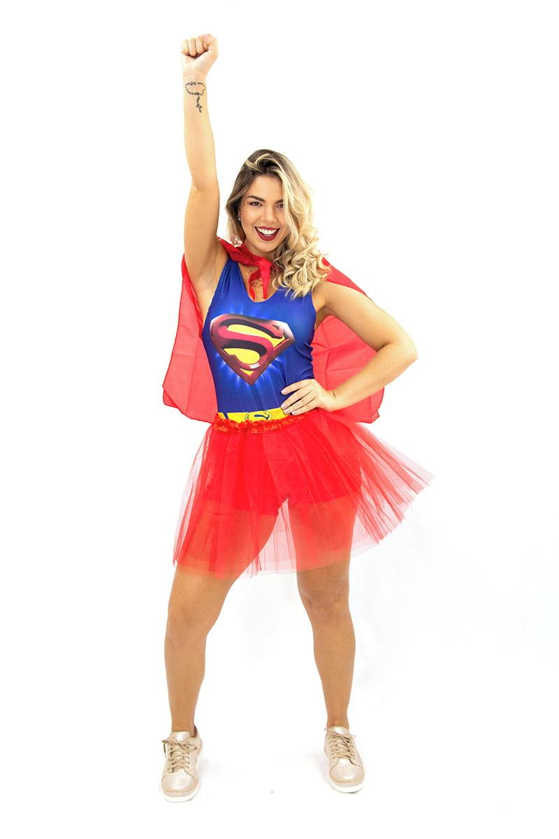 4e5e7ced1e110d Fantasia Supergirl Com Saia Tule E Capa Adulto Macaquinho