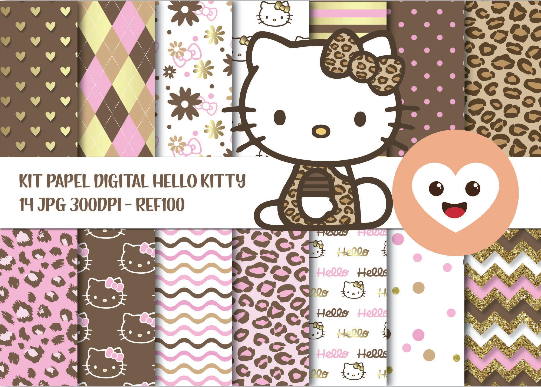 Kit Papel Digital Imagem Hello Kitty Vintage Scrap Mod100 No Elo7