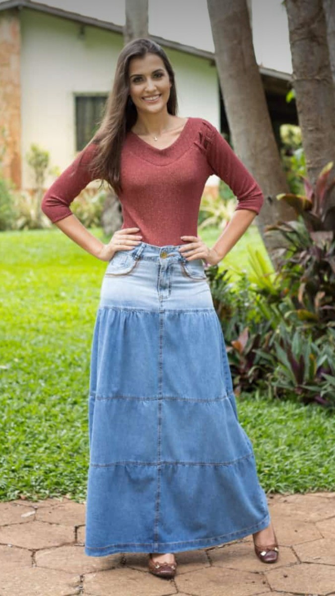 329e958922 Vestido Jeans e Saia Longa Cigana