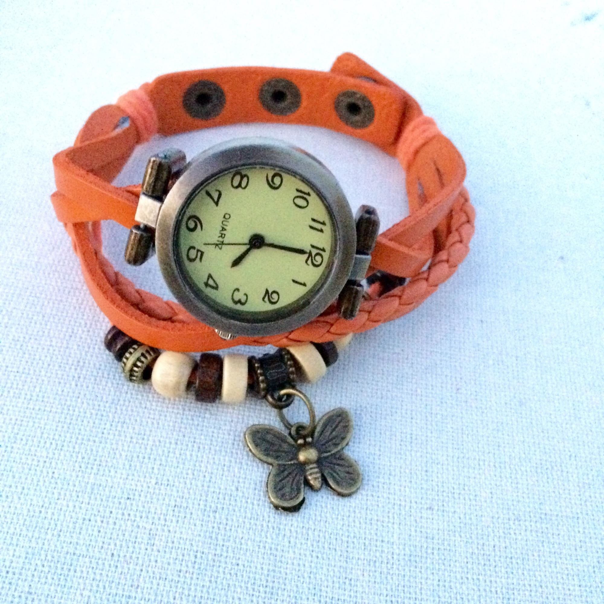 9de5865a433 Relógio De Pulso Feminino em Couro Laranja Vintage no Elo7