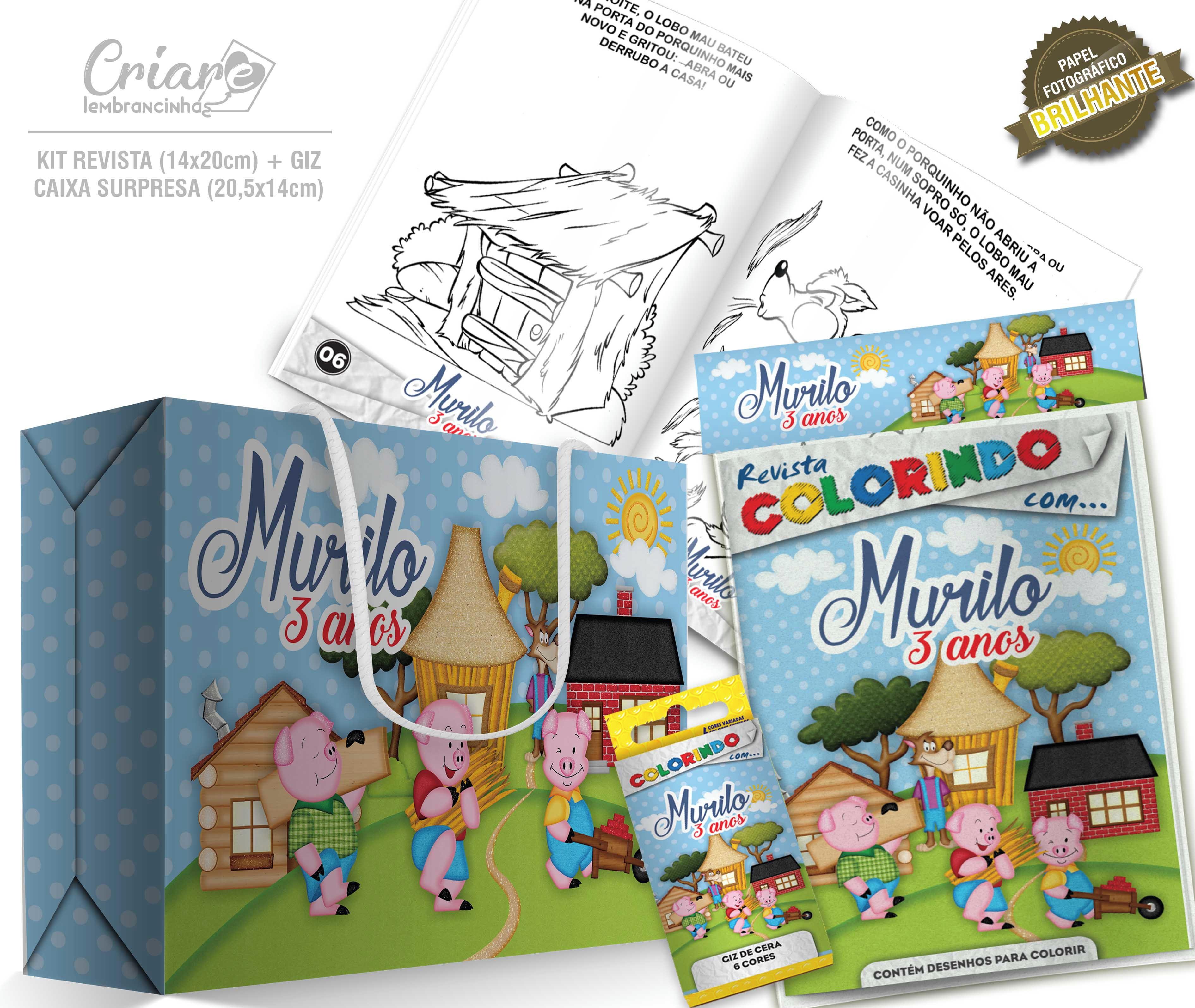 Caixa Surpresa Kit De Colorir Os Tres Porquinhos No Elo7