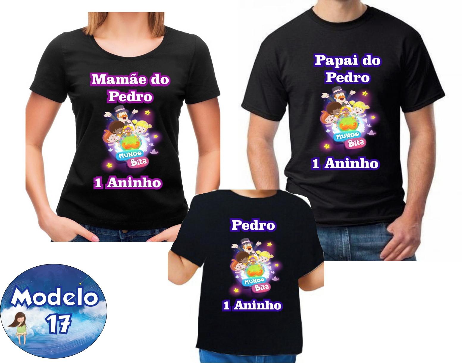 Kit 3 Camisetas Personalizadas Mundo Bita Carnaval  0af88420dc35b