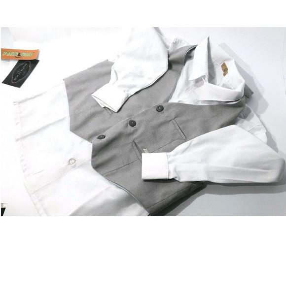 27029b0039 Camisa Branca e Colete Social Infantil Masculino