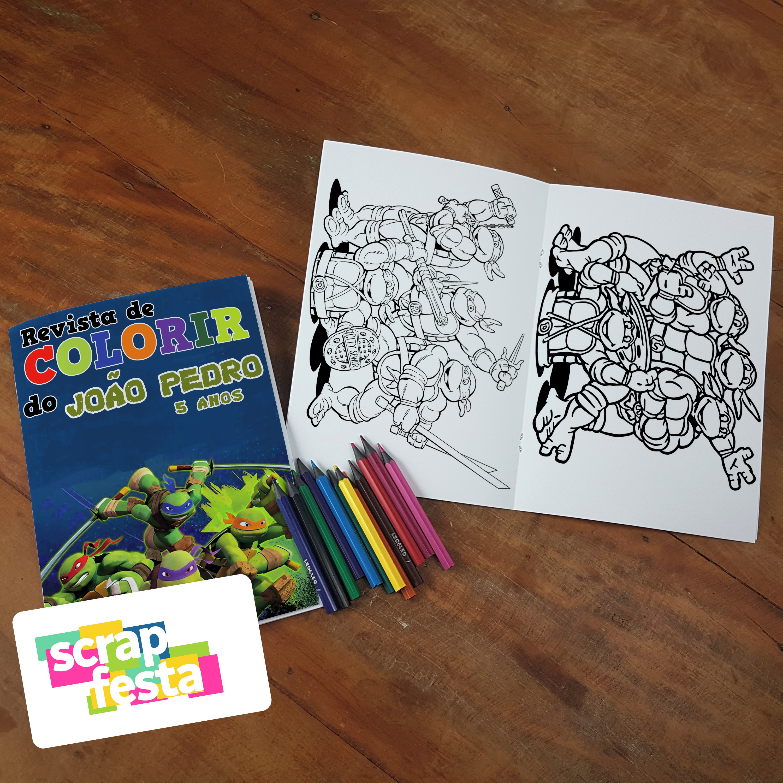 Revista Colorir Lapis De Cor Festa Tartarugas Ninjas No Elo7