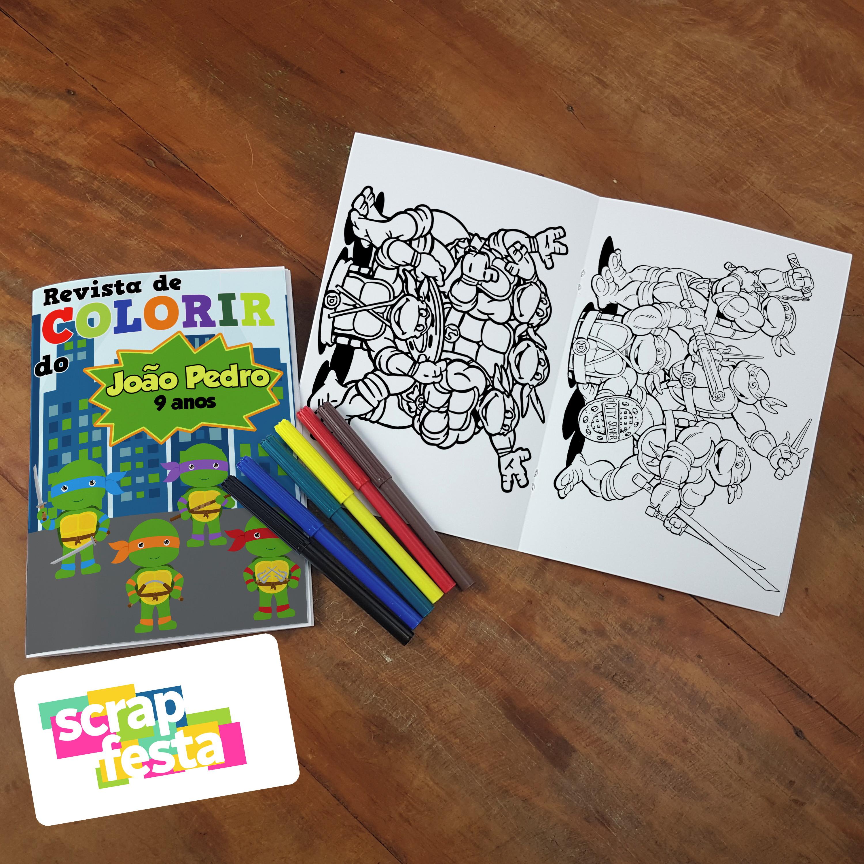 Revista Colorir Canetinha Festa Tartarugas Ninjas Cute No Elo7