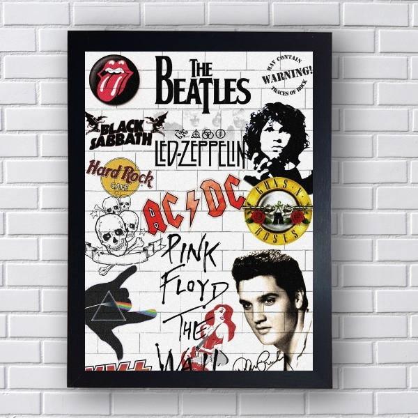 Quadro Bandas De Rock Anos 70 A 90