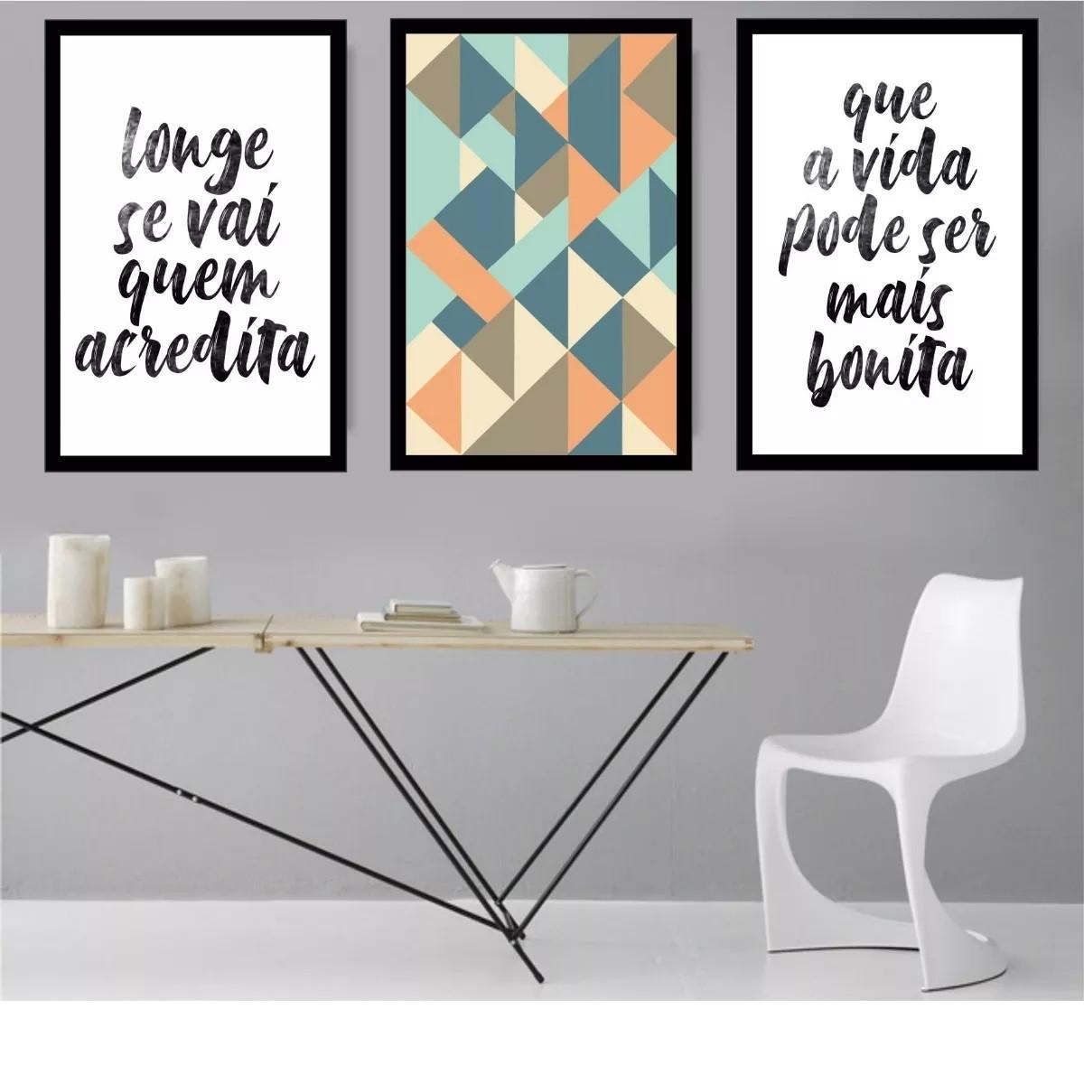 4db1b4ea4 Kit de Quadros Decorativos Poster Longe Se Vai Quem Acredita