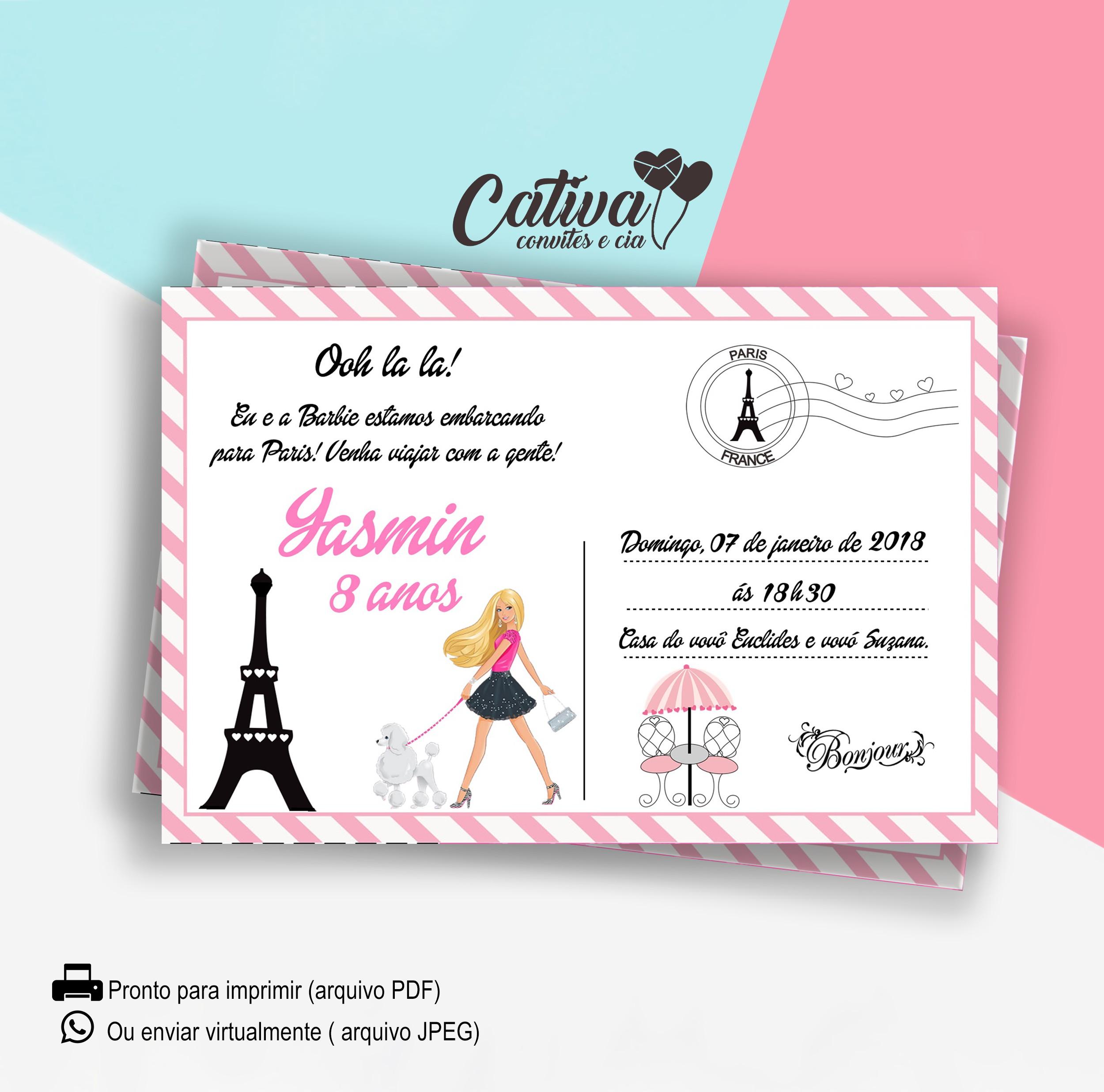 Convite Digital Barbie Paris No Elo7 Cativa Convites E Cia E9f321