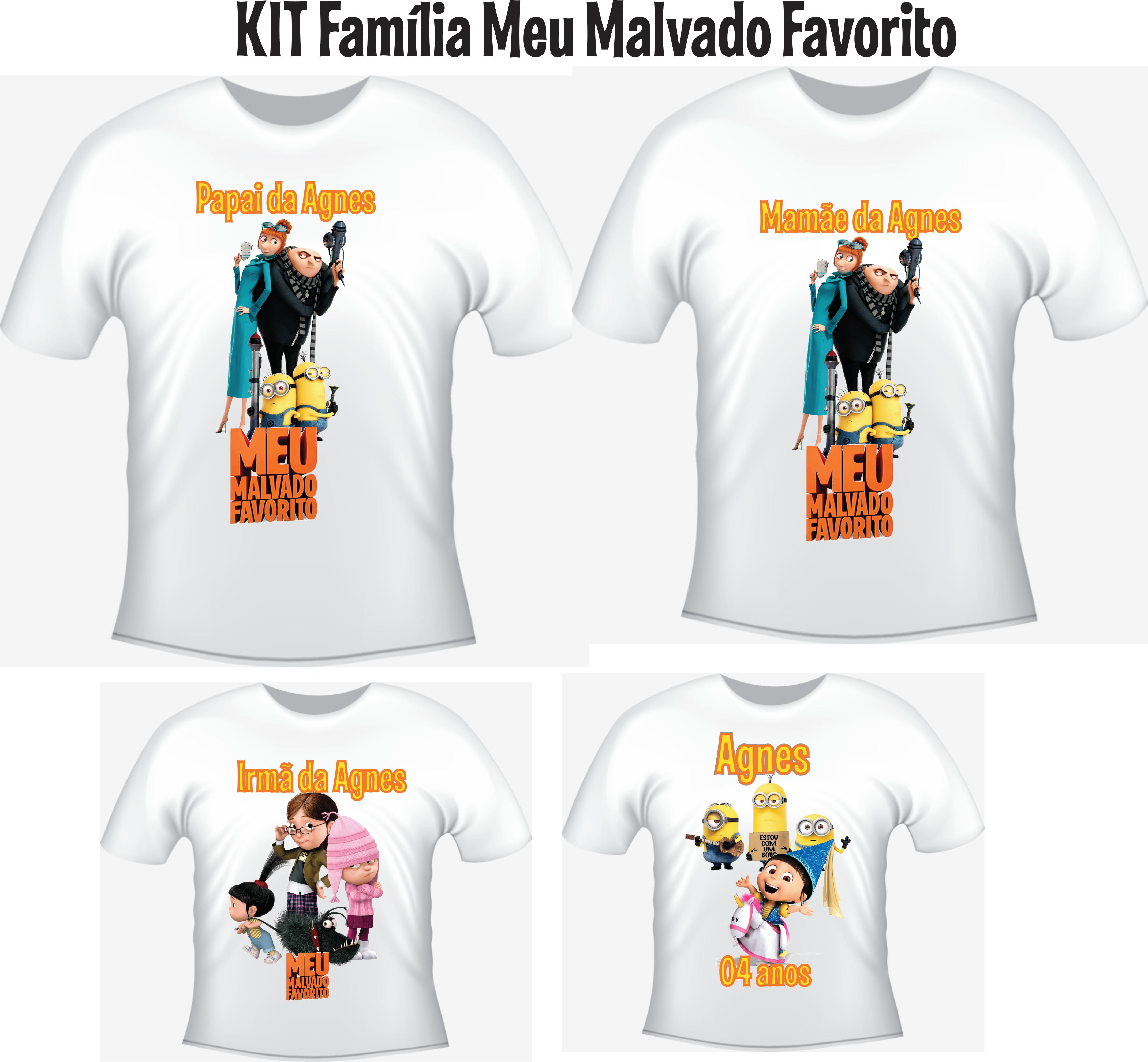 20eea83ce528 Kit 4 Camisetas Pai Mae Filho Filha Meu Malvado Favorito   Elo7