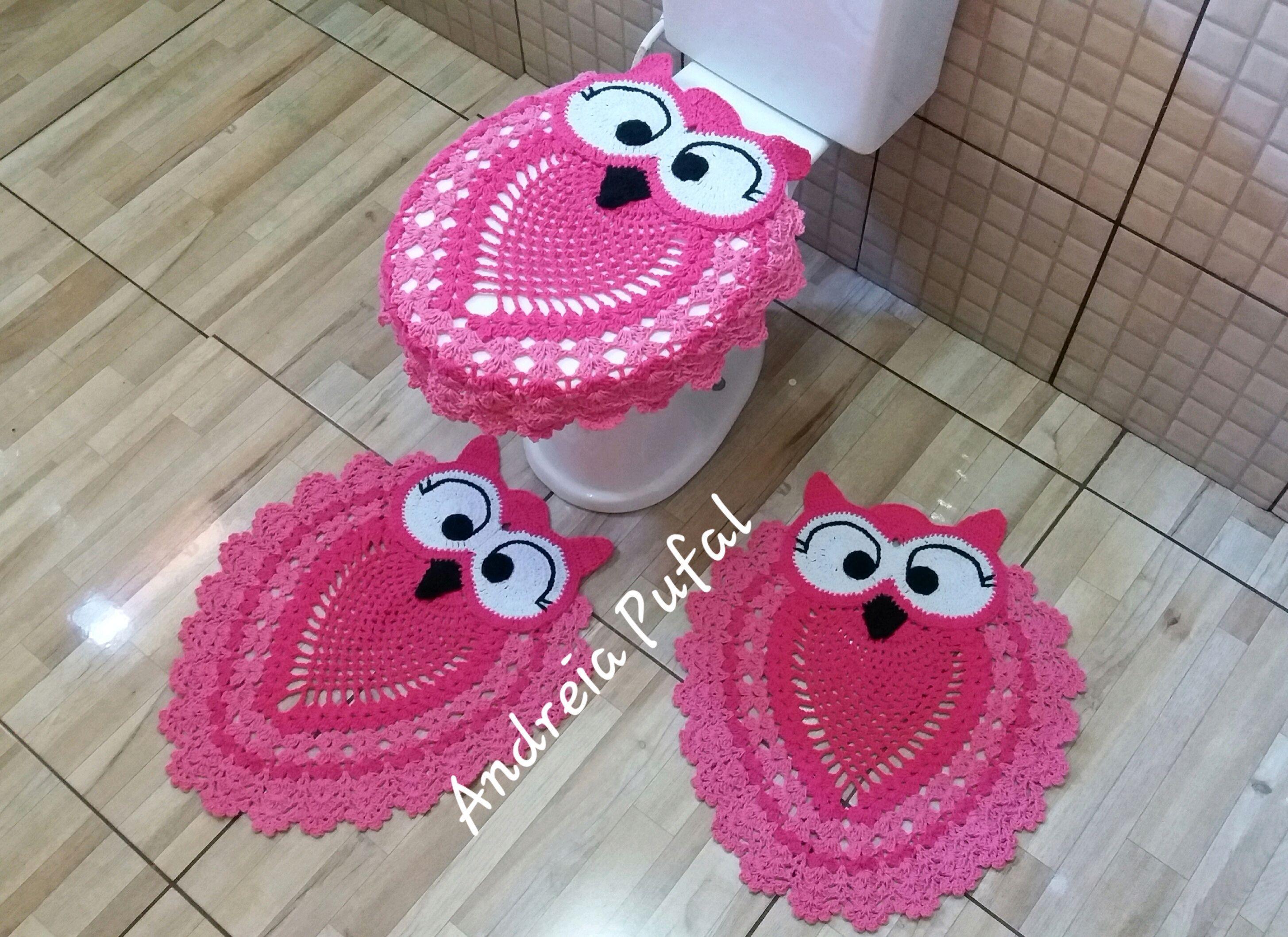 Jogo de banheiro coruja rosa Crochê no Elo7 | A&R Crochê Por ...