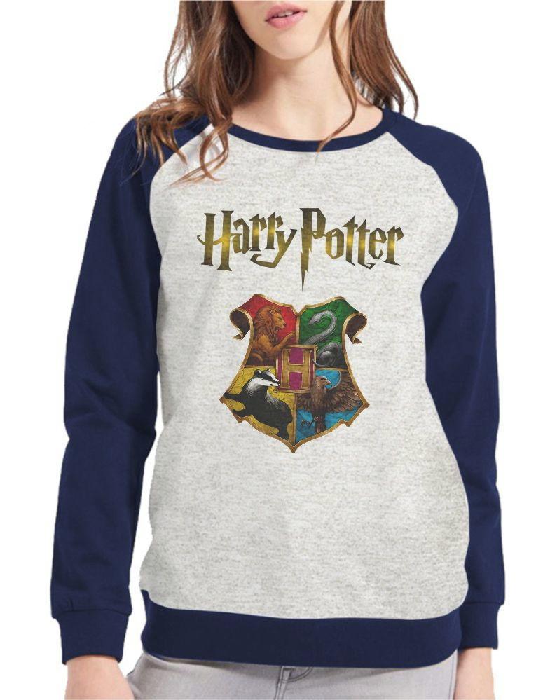 5279740a8eb3 Moletom Raglan Masculino Mescla Harry Potter Hogwarts | Elo7