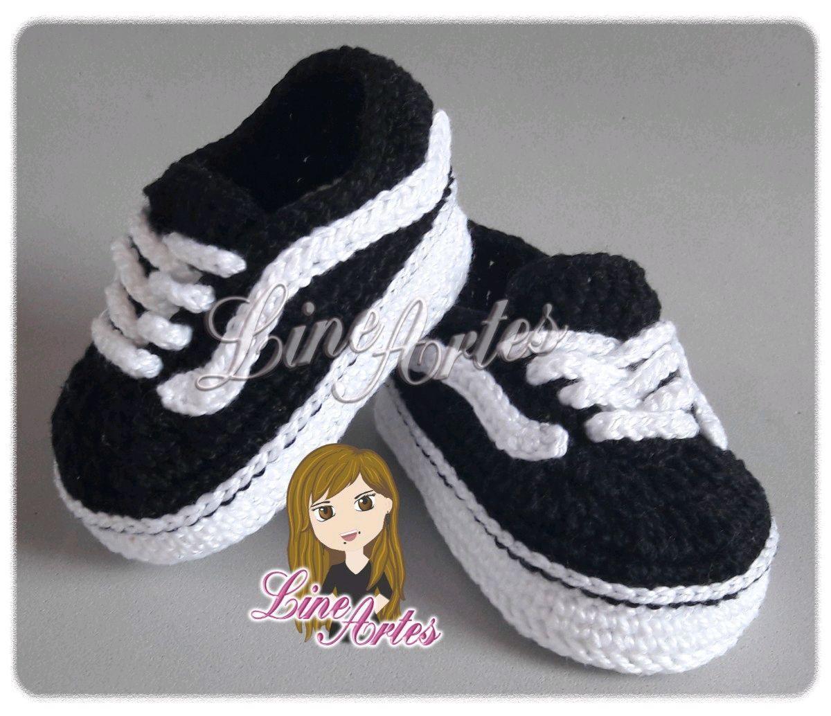 4129fc548f Sapatinhos em Croche Modelo Tenis Vans | Elo7