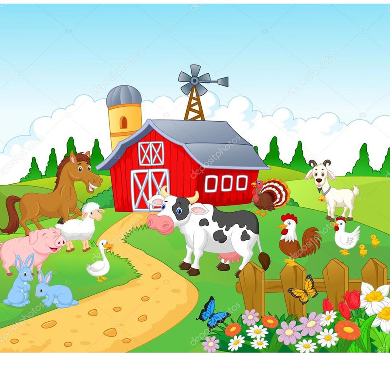 Painel Desenho Infantil Fazendinha Animais Sitio 3d 2x1 5m No Elo7