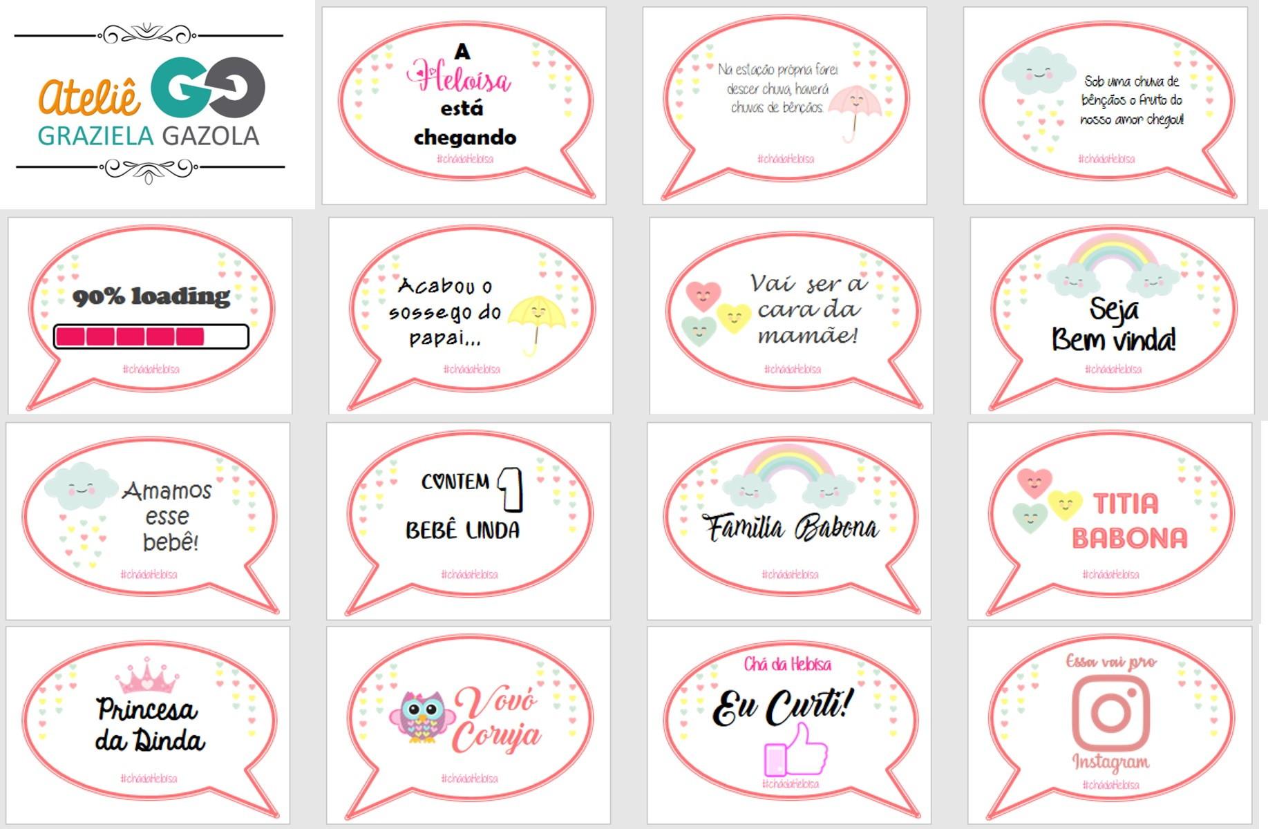 Arte Digital Kit Plaquinha Cha De Bebe Chuva De Amor No Elo7