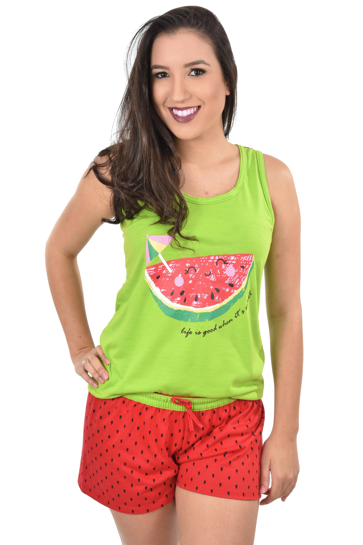 e89b061818e711 Kit 1 Mãe E 1 Filha Baby Short Doll Camiseta Melância