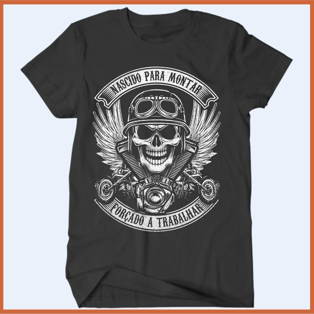 e0e3514255 Camiseta Motociclista Nascido para montar forçado a trabalha no Elo7 ...